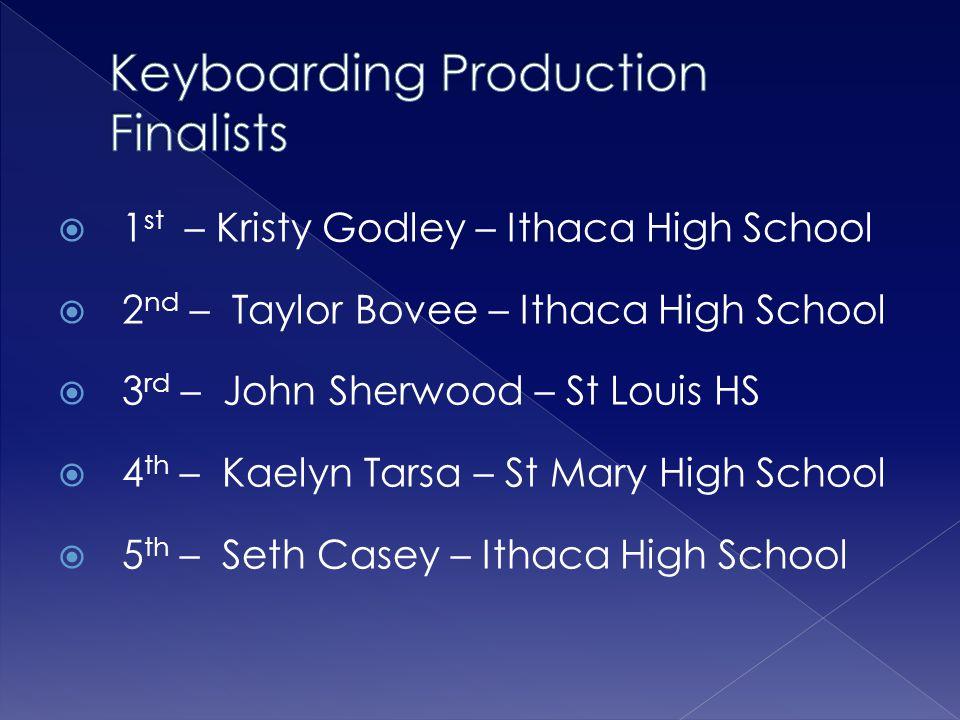  1 st – Kristy Godley – Ithaca High School  2 nd – Taylor Bovee – Ithaca High School  3 rd – John Sherwood – St Louis HS  4 th – Kaelyn Tarsa – St Mary High School  5 th – Seth Casey – Ithaca High School