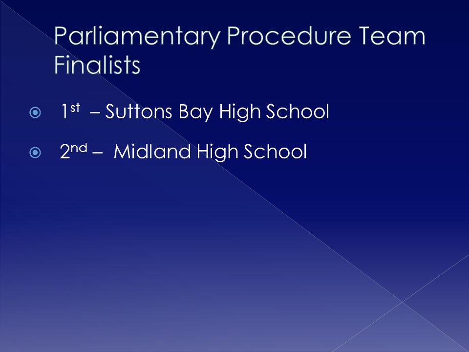  1 st – Suttons Bay High School  2 nd – Midland High School
