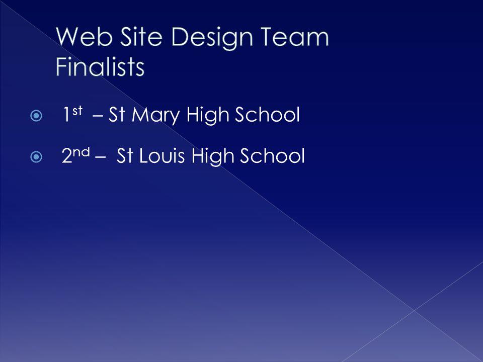  1 st – St Mary High School  2 nd – St Louis High School