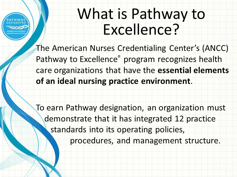 The 12 Practice Standards 1.Nurses Control the Practice of Nursing 2.The Work Environment is Safe and Healthy 3.Systems are in Place to Address Patient Care and Practice Concerns 4.Orientation Prepares Nurses for the Work Environment 5.The CNO is Qualified and Participates at All Levels of the Organization 6.Professional Development is Provided and Used