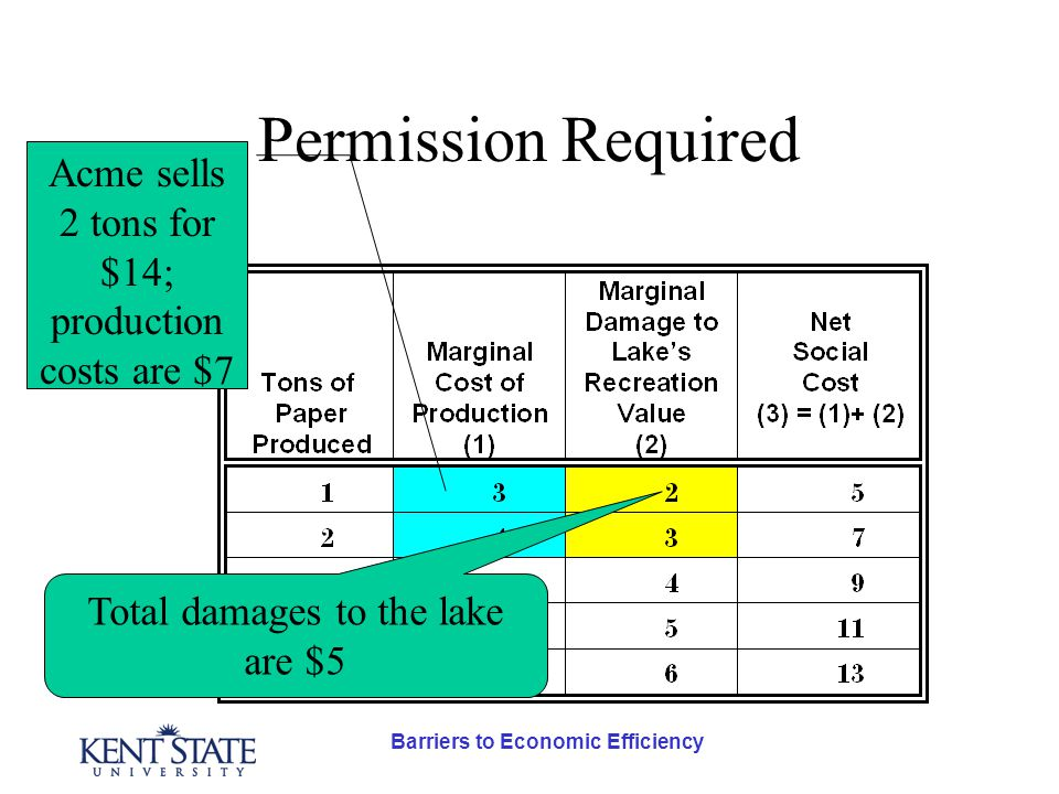 Barriers to Economic Efficiency Permission Required Acme sells 2 tons for $14; production costs are $7 Total damages to the lake are $5