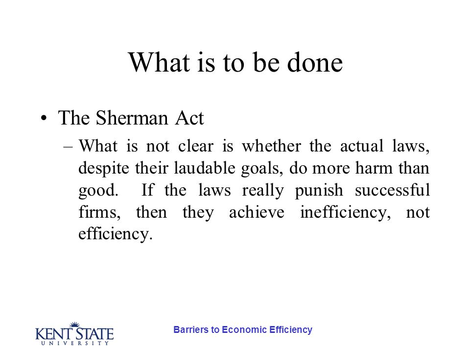 Barriers to Economic Efficiency What is to be done The Sherman Act –What is not clear is whether the actual laws, despite their laudable goals, do more harm than good.