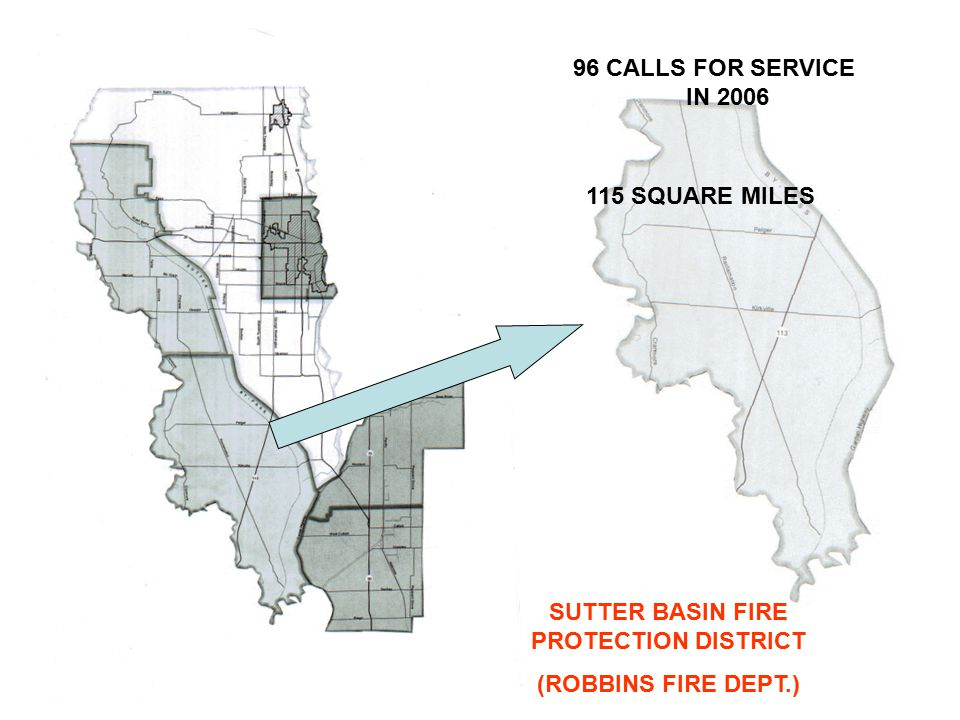 SUTTER BASIN FIRE PROTECTION DISTRICT (ROBBINS FIRE DEPT.) 96 CALLS FOR SERVICE IN 2006 115 SQUARE MILES