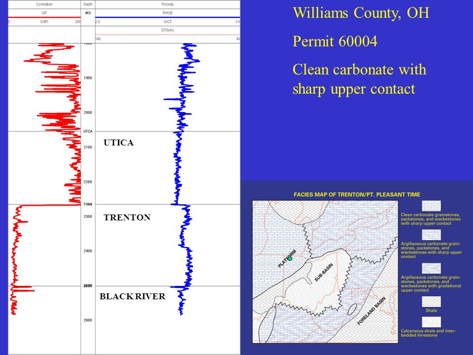 Williams County, OH Permit 60004 Clean carbonate with sharp upper contact UTICA TRENTON BLACK RIVER