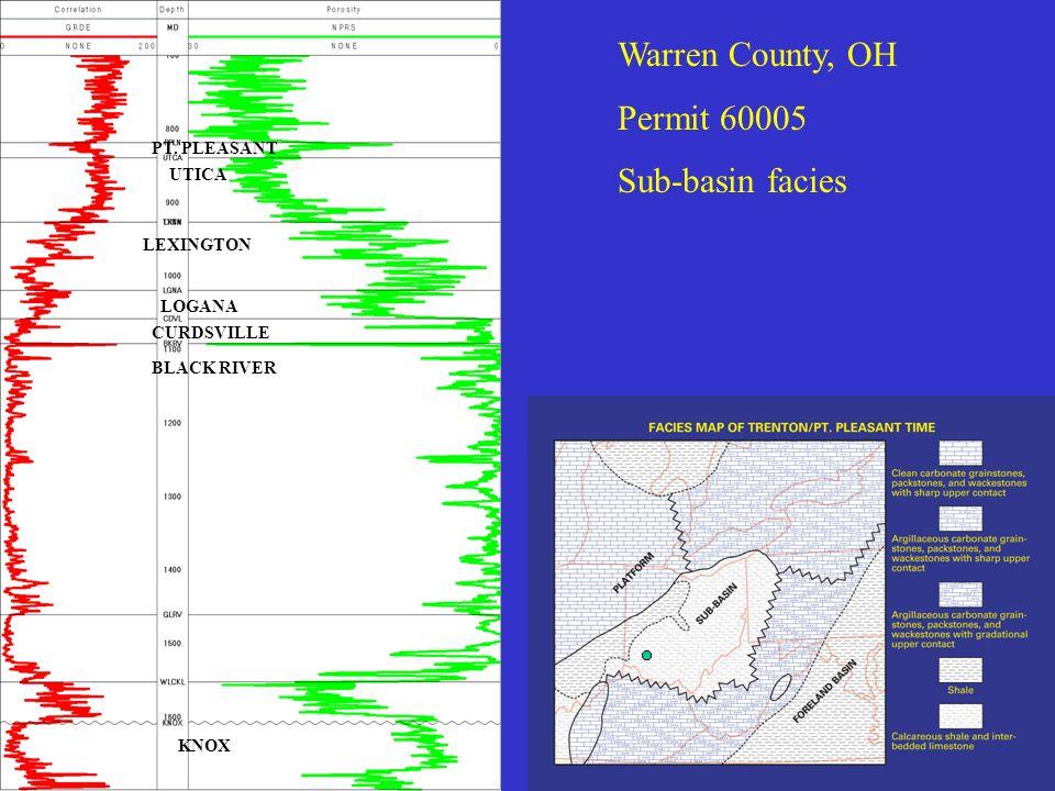 Warren County, OH Permit 60005 Sub-basin facies UTICA LEXINGTON LOGANA CURDSVILLE BLACK RIVER KNOX PT.