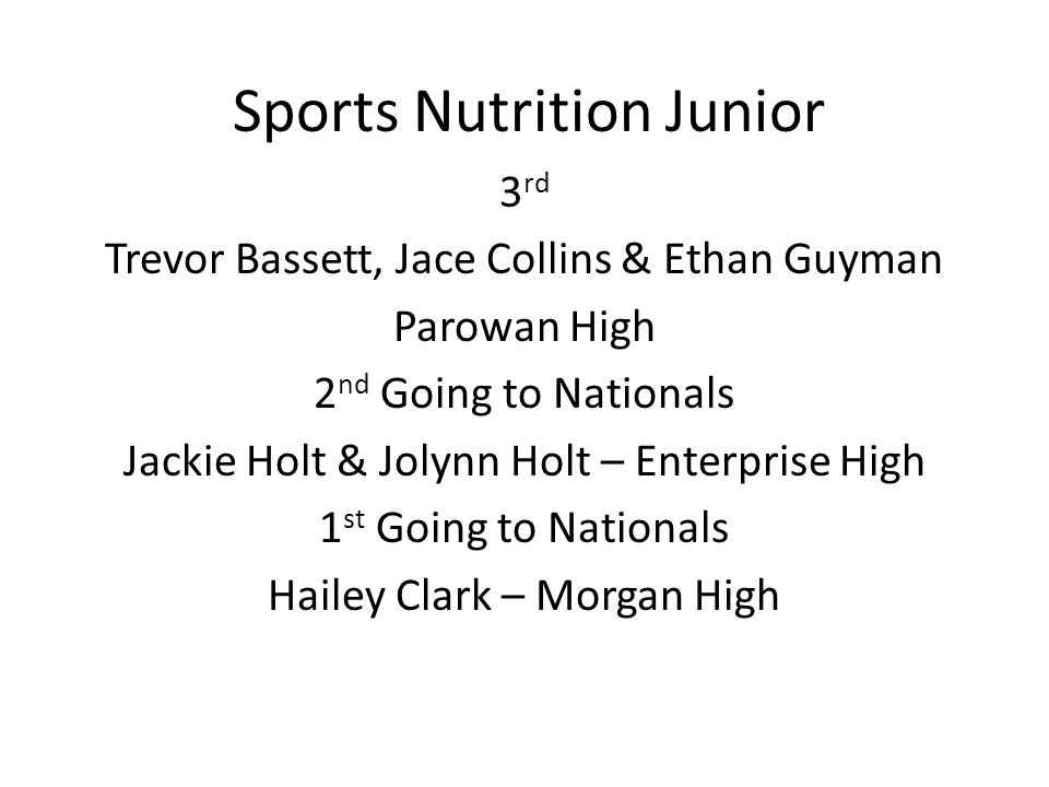 Sports Nutrition Junior 3 rd Trevor Bassett, Jace Collins & Ethan Guyman Parowan High 2 nd Going to Nationals Jackie Holt & Jolynn Holt – Enterprise High 1 st Going to Nationals Hailey Clark – Morgan High
