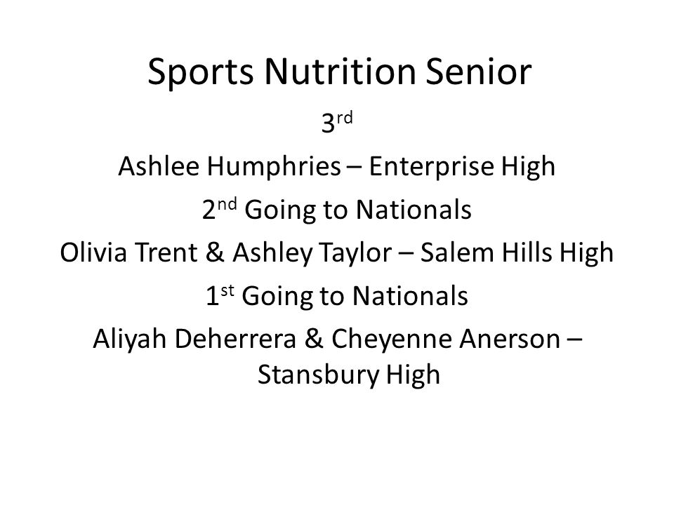 Sports Nutrition Senior 3 rd Ashlee Humphries – Enterprise High 2 nd Going to Nationals Olivia Trent & Ashley Taylor – Salem Hills High 1 st Going to Nationals Aliyah Deherrera & Cheyenne Anerson – Stansbury High