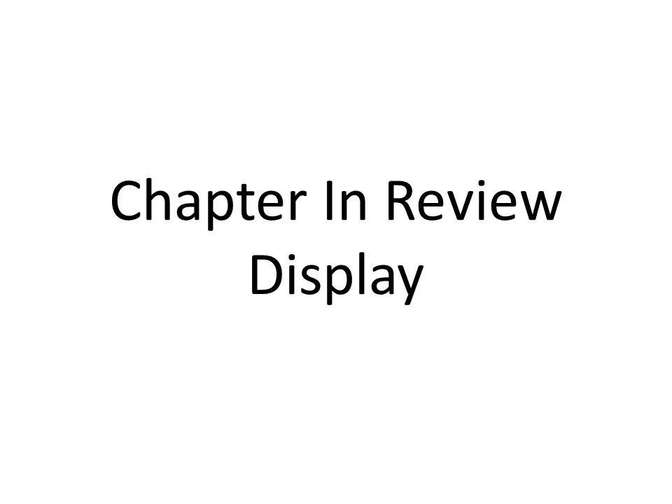 Chapter In Review Display