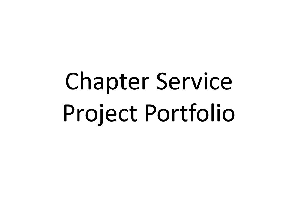 Chapter Service Project Portfolio