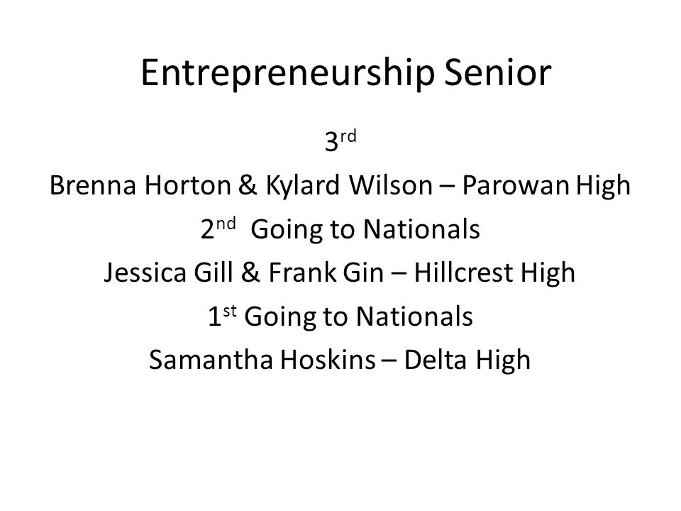 Entrepreneurship Senior 3 rd Brenna Horton & Kylard Wilson – Parowan High 2 nd Going to Nationals Jessica Gill & Frank Gin – Hillcrest High 1 st Going to Nationals Samantha Hoskins – Delta High
