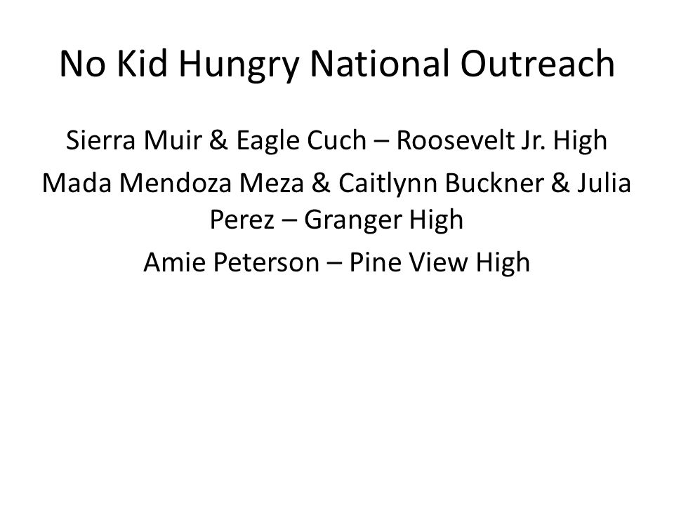 No Kid Hungry National Outreach Sierra Muir & Eagle Cuch – Roosevelt Jr.