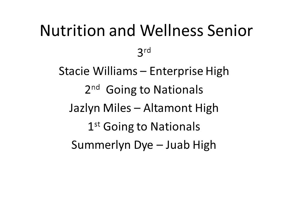 Nutrition and Wellness Senior 3 rd Stacie Williams – Enterprise High 2 nd Going to Nationals Jazlyn Miles – Altamont High 1 st Going to Nationals Summerlyn Dye – Juab High