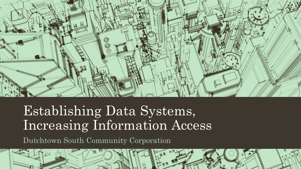 Establishing Data Systems, Increasing Information Access Dutchtown South Community Corporation