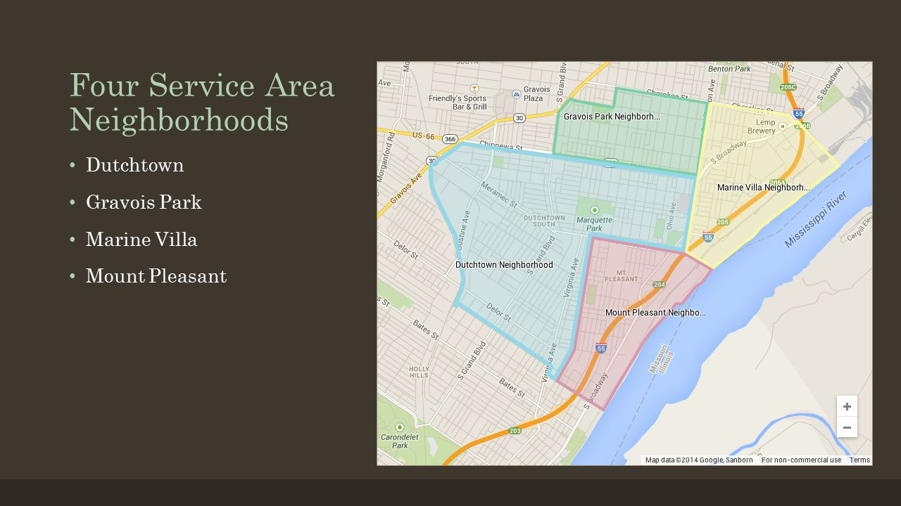 Four Service Area Neighborhoods Dutchtown Gravois Park Marine Villa Mount Pleasant
