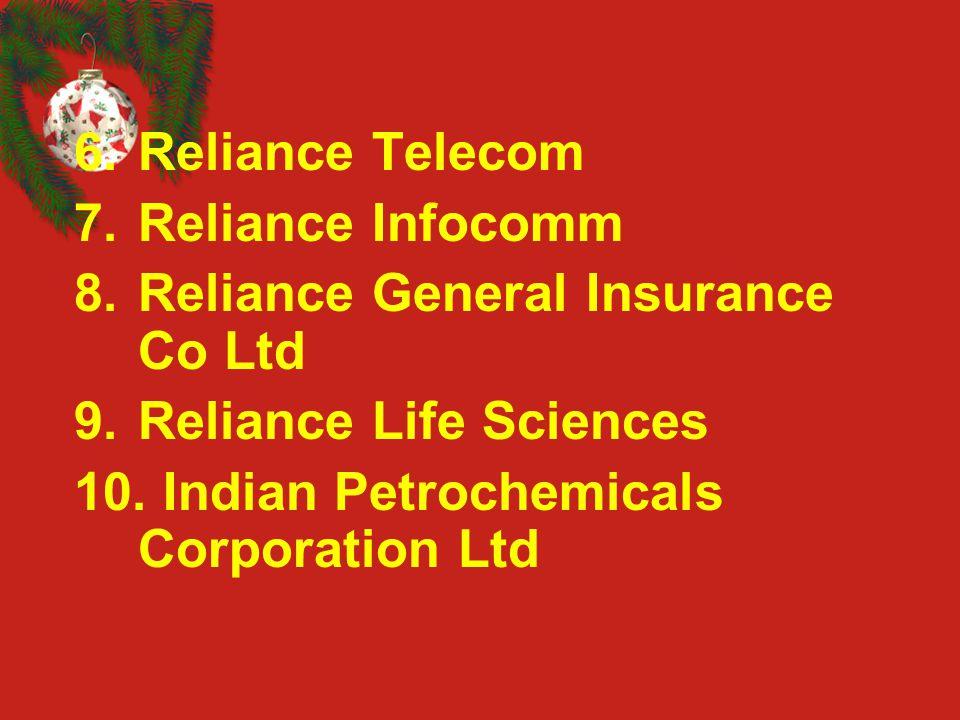 6.Reliance Telecom 7.Reliance Infocomm 8.Reliance General Insurance Co Ltd 9.Reliance Life Sciences 10. Indian Petrochemicals Corporation Ltd