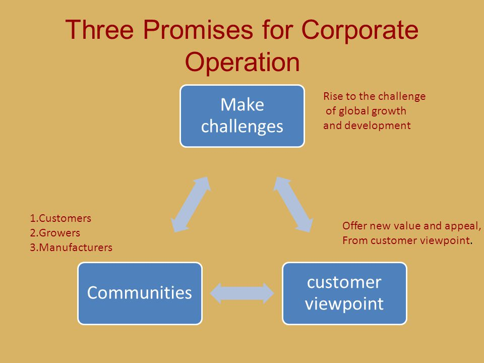 Three Promises for Corporate Operation Make challenges customer viewpoint Communities Rise to the challenge of global growth and development Offer new