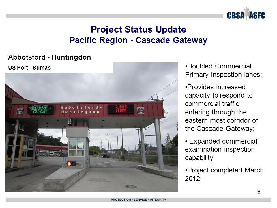 6 Project Status Update Pacific Region - Cascade Gateway Doubled Commercial Primary Inspection lanes; Provides increased capacity to respond to commercial traffic entering through the eastern most corridor of the Cascade Gateway; Expanded commercial examination inspection capability Project completed March 2012 Abbotsford - Huntingdon US Port - Sumas