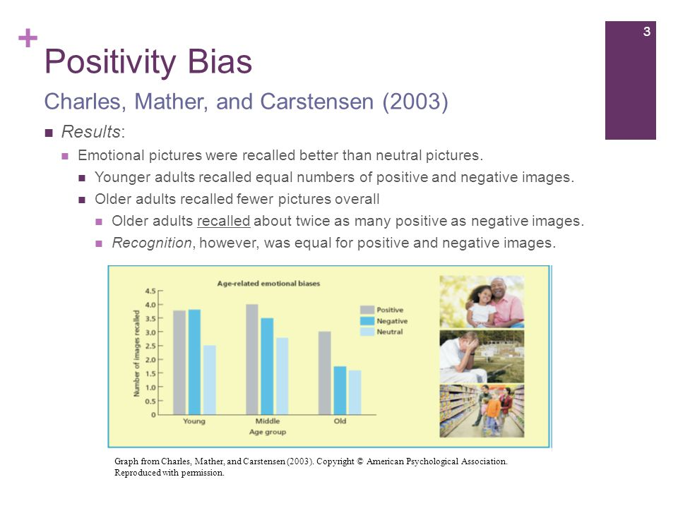 + Positivity Bias Results: Emotional pictures were recalled better than neutral pictures.