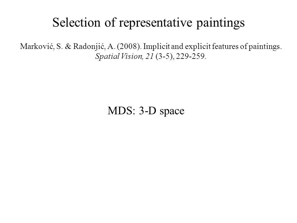 MDS: 3-D space Marković, S. & Radonjić, A. (2008).