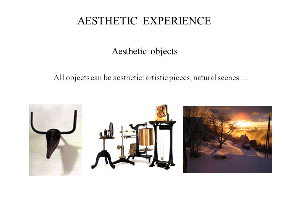 Aesthetic objects All objects can be aesthetic: artistic pieces, natural scenes … AESTHETIC PREFERENCEEXPERIENCE