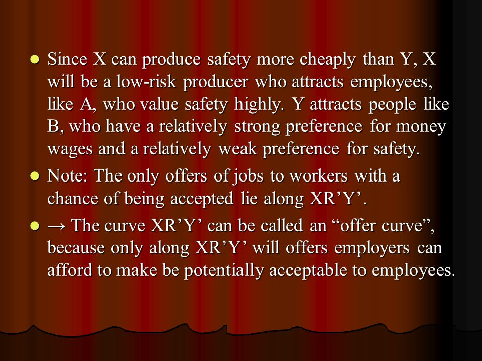 Since X can produce safety more cheaply than Y, X will be a low-risk producer who attracts employees, like A, who value safety highly. Y attracts peop