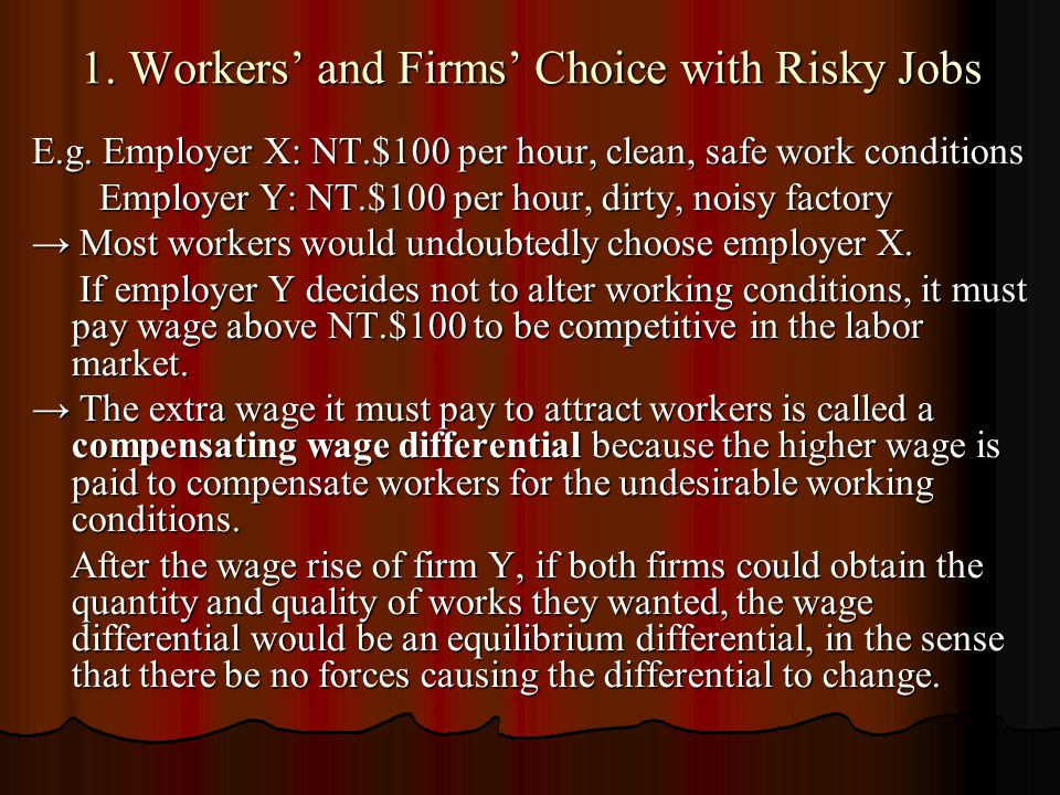 1. Workers' and Firms' Choice with Risky Jobs E.g. Employer X: NT.$100 per hour, clean, safe work conditions Employer Y: NT.$100 per hour, dirty, nois