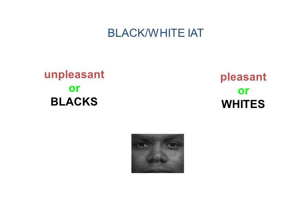 unpleasant or BLACKS pleasant or WHITES BLACK/WHITE IAT