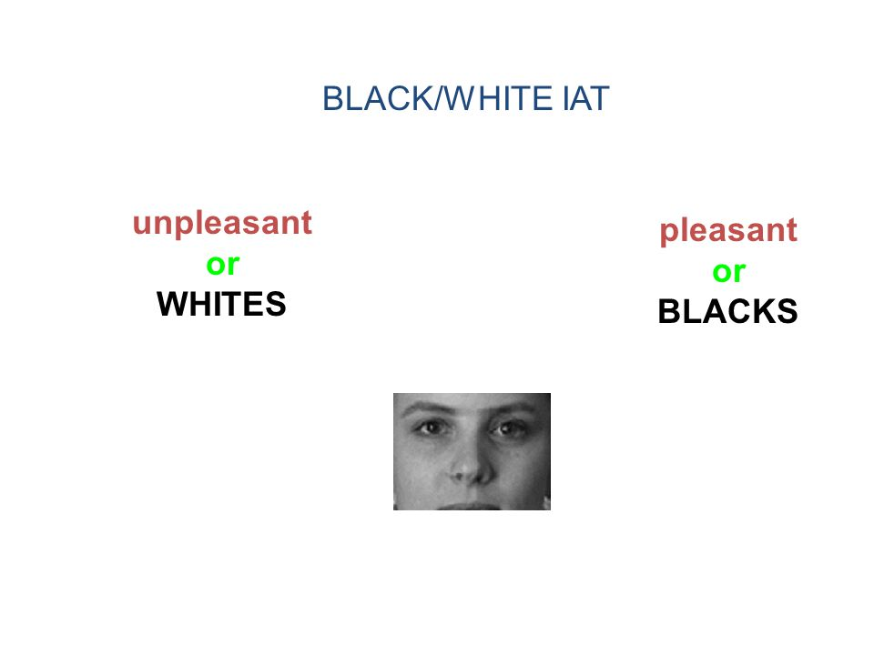 unpleasant or WHITES pleasant or BLACKS BLACK/WHITE IAT