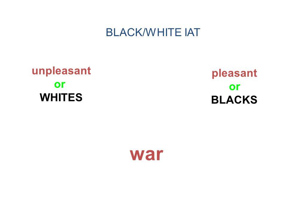 unpleasant or WHITES pleasant or BLACKS war BLACK/WHITE IAT