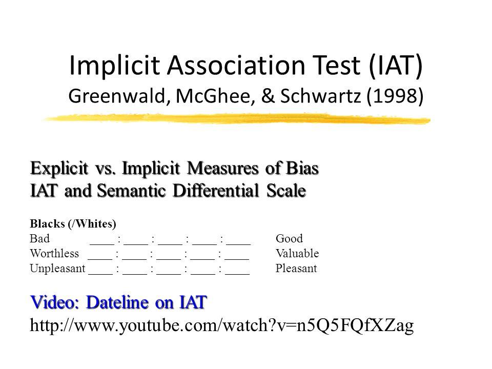 Implicit Association Test (IAT) Greenwald, McGhee, & Schwartz (1998) Explicit vs. Implicit Measures of Bias IAT and Semantic Differential Scale Blacks