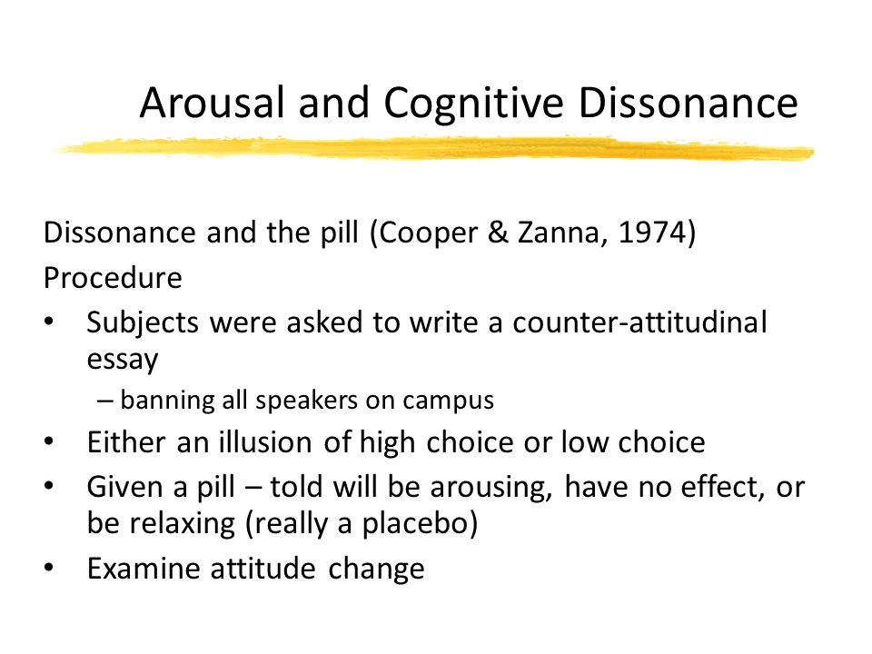 Arousal and Cognitive Dissonance Dissonance and the pill (Cooper & Zanna, 1974) Procedure Subjects were asked to write a counter-attitudinal essay – b