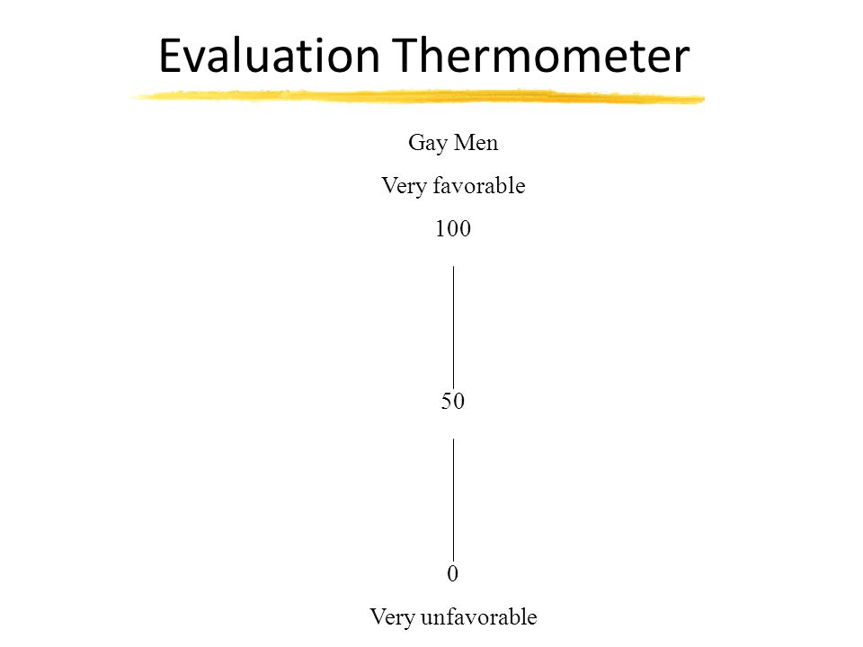 Gay Men Bad ____ : ____ : ____ : ____ : ____ Good Worthless ____ : ____ : ____ : ____ : ____ Valuable Unpleasant ____ : ____ : ____ : ____ : ____ Pleasant Boring ____ : ____ : ____ : ____ : ____ Interesting Unfavorable ____ : ____ : ____ : ____ : ____ Favorable Harmful ____ : ____ : ____ : ____ : ____ Beneficial Semantic Differential Scale