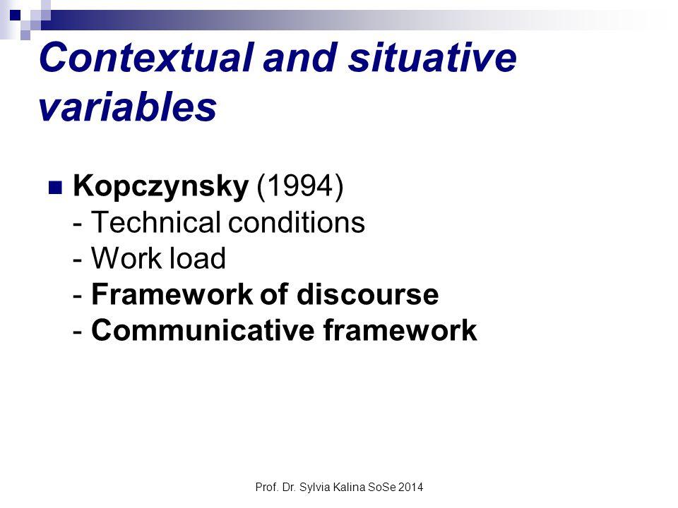 Prof. Dr. Sylvia Kalina SoSe 2014 Contextual and situative variables Kopczynsky (1994) - Technical conditions - Work load - Framework of discourse - C