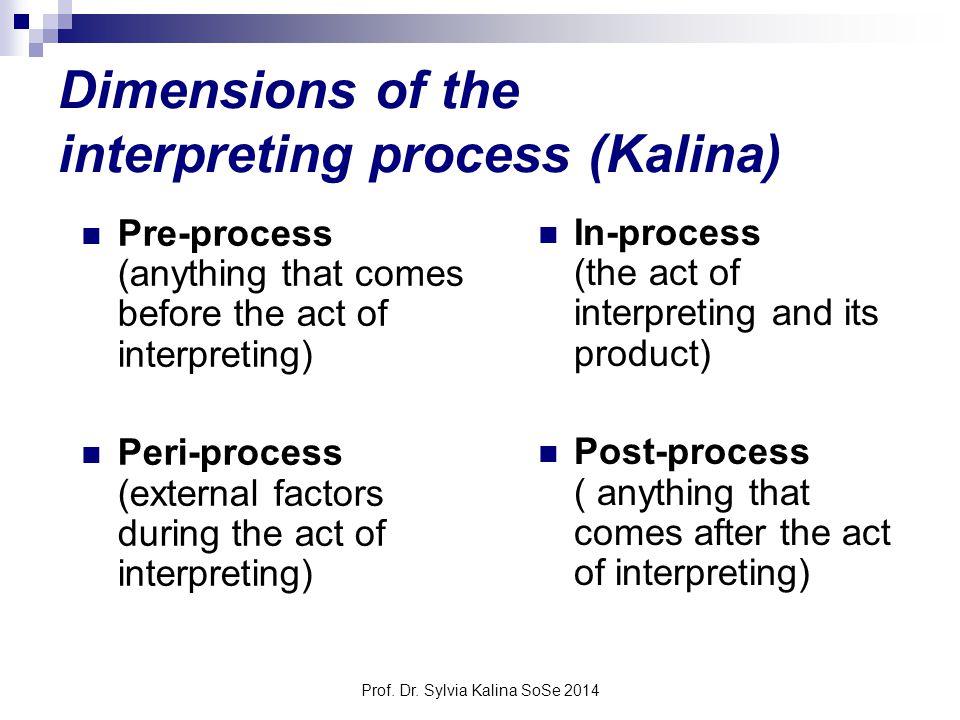 Prof. Dr. Sylvia Kalina SoSe 2014 Dimensions of the interpreting process (Kalina) Pre-process (anything that comes before the act of interpreting) Per