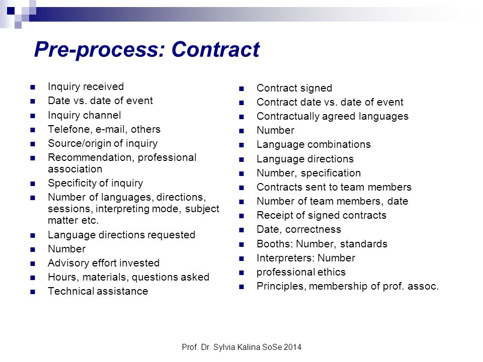 Prof. Dr. Sylvia Kalina SoSe 2014 Pre-process: Contract Inquiry received Date vs. date of event Inquiry channel Telefone, e-mail, others Source/origin