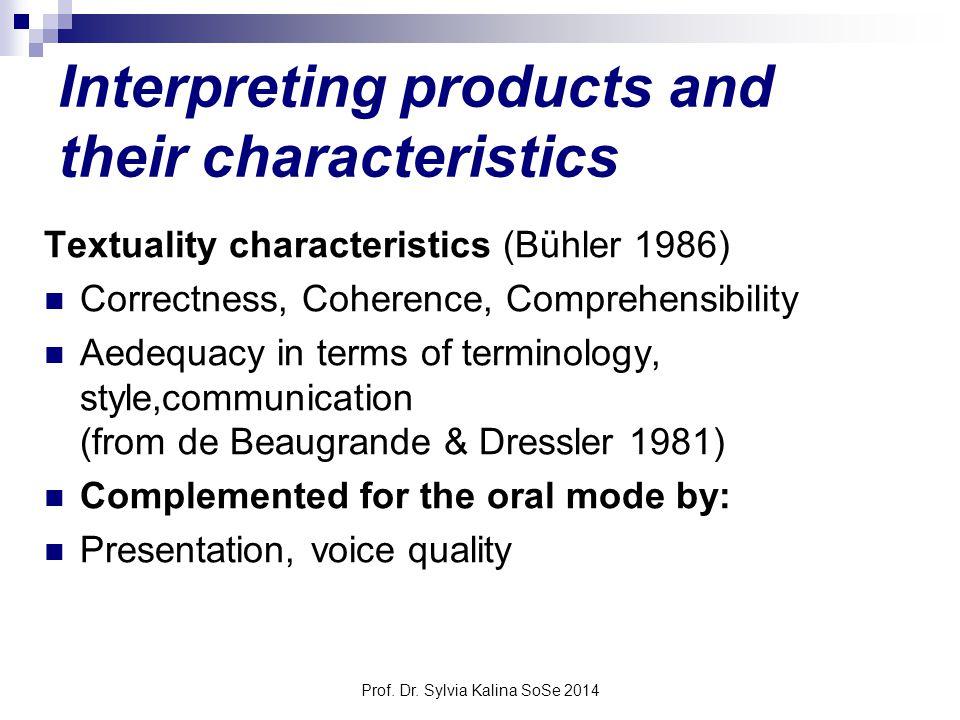Prof. Dr. Sylvia Kalina SoSe 2014 Interpreting products and their characteristics Textuality characteristics (Bühler 1986) Correctness, Coherence, Com