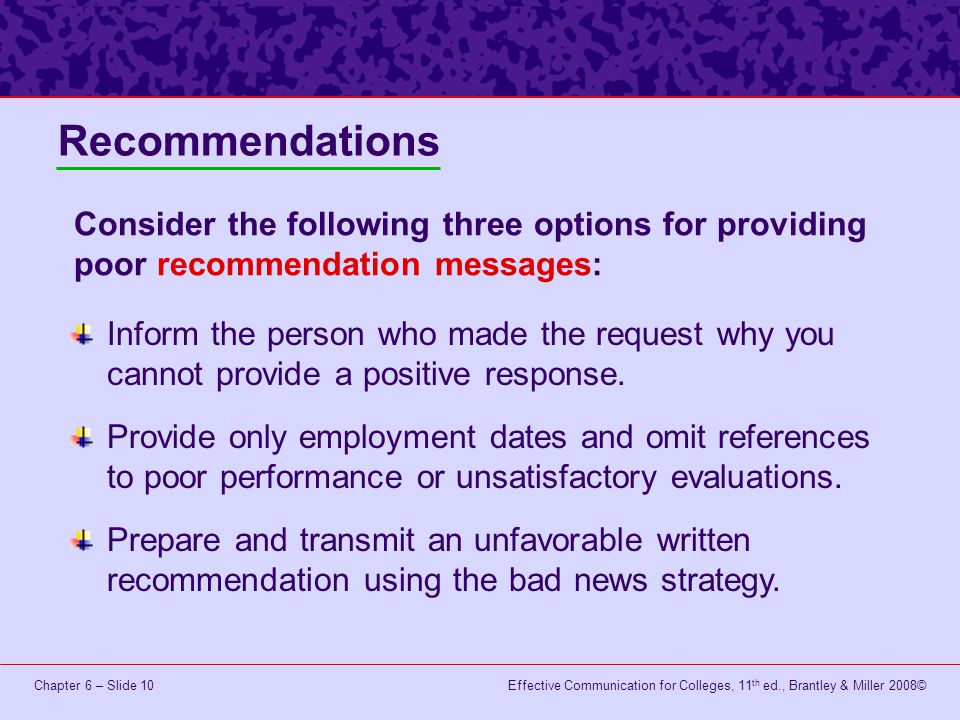 Effective Communication for Colleges, 11 th ed., Brantley & Miller 2008©Chapter 6 – Slide 11 Begin with a pleasant, relevant statement.