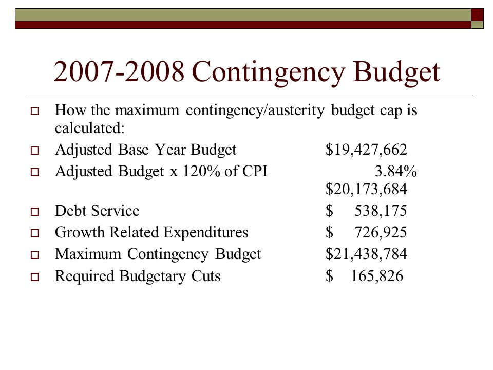 2007-2008 Contingency Budget  How the maximum contingency/austerity budget cap is calculated:  Adjusted Base Year Budget$19,427,662  Adjusted Budge