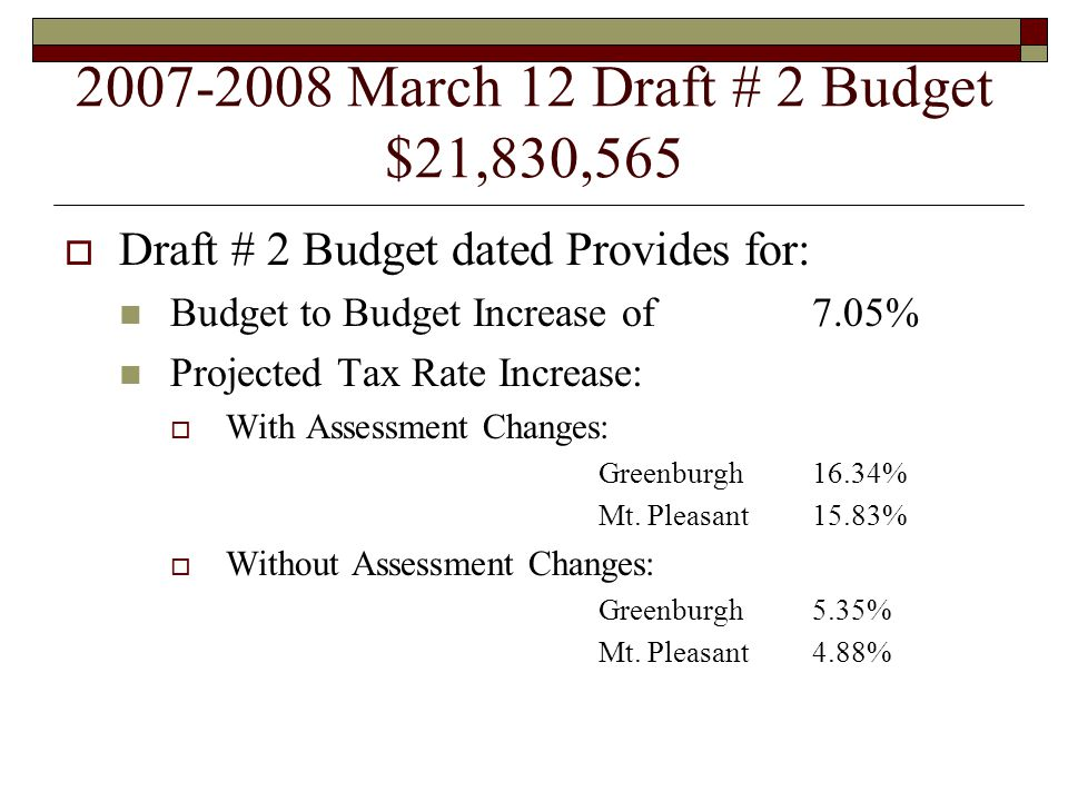 2007-2008 March 14 Draft # 3 Budget $22,041,265  Draft # 3 Budget Dated Provides for: Budget to Budget Increase of8.09% Projected Tax Rate Increase:  With Assessment Changes: Greenburgh17.09% Mt.
