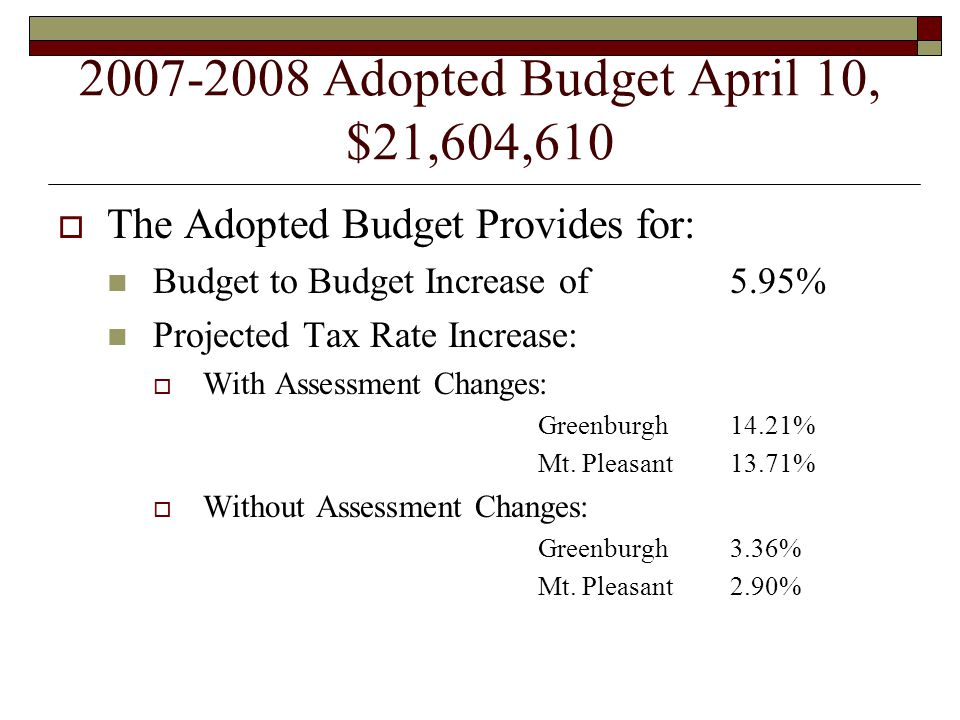 2007-2008 Adopted Budget April 10, $21,604,610  The Adopted Budget Provides for: Budget to Budget Increase of 5.95% Projected Tax Rate Increase:  With Assessment Changes: Greenburgh14.21% Mt.