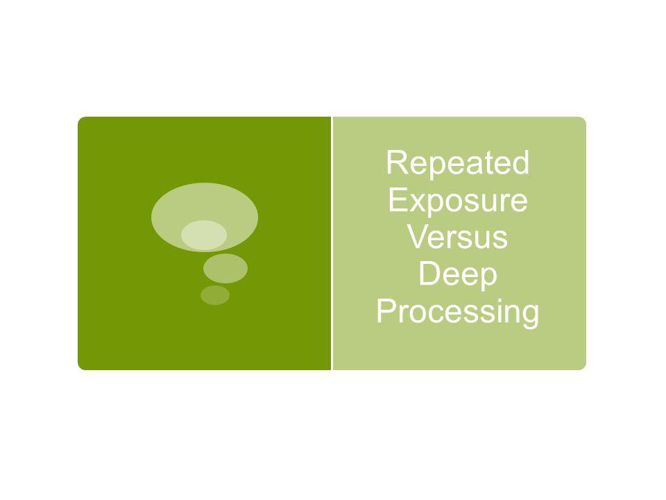 Repeated Exposure Versus Deep Processing
