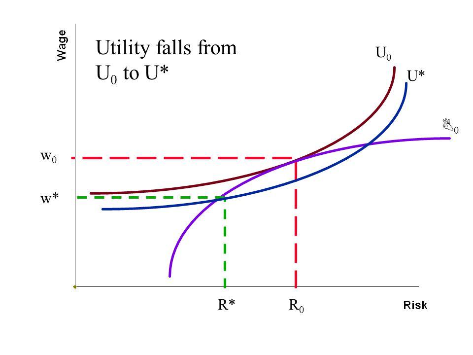 w0w0 R0R0 R* w* U0U0 U* 00 Utility falls from U 0 to U*