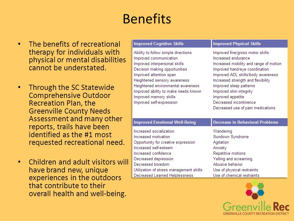 Benefits The benefits of recreational therapy for individuals with physical or mental disabilities cannot be understated.