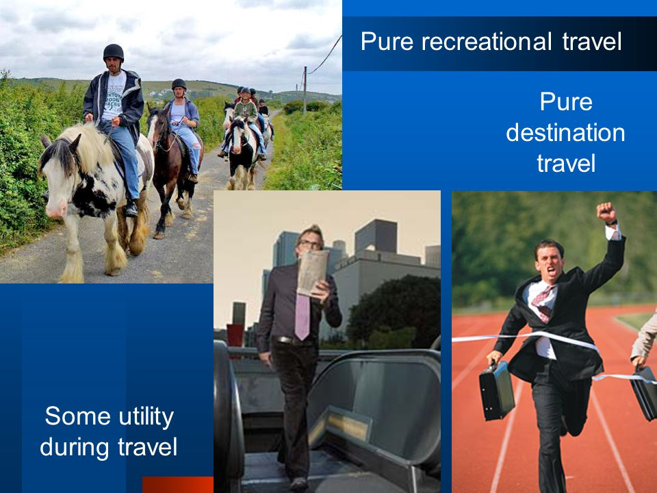 22 Pure recreational travel Pure destination travel Some utility during travel