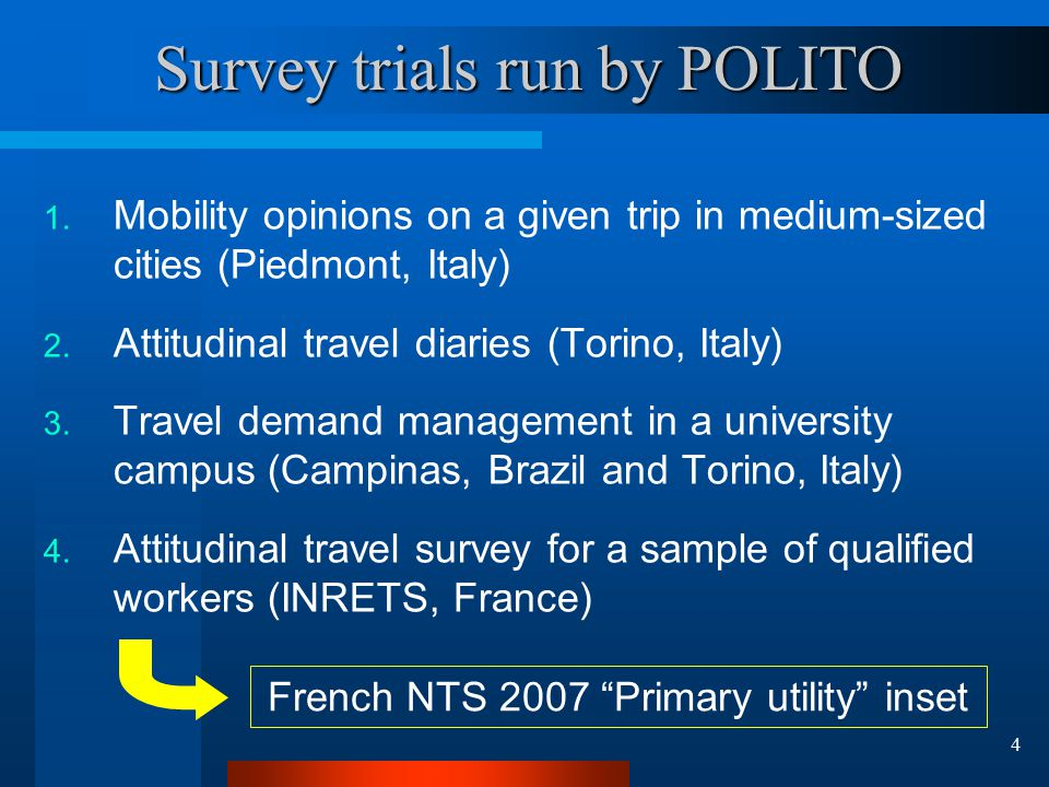 4 Survey trials run by POLITO 1.