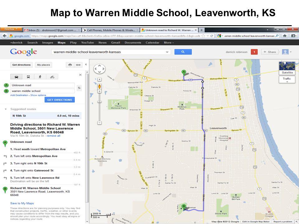 17 Jul 20031 TRAC Standard Template Map to Warren Middle School, Leavenworth, KS