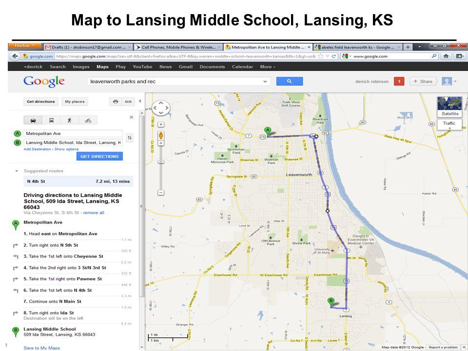 17 Jul 20032 TRAC Standard Template Map to Lansing Middle School, Lansing, KS
