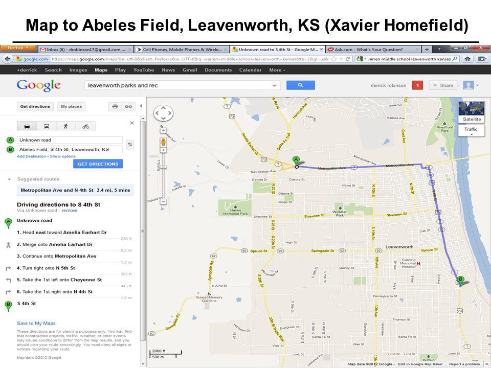 17 Jul 20034 TRAC Standard Template Map to Abeles Field, Leavenworth, KS (Xavier Homefield)