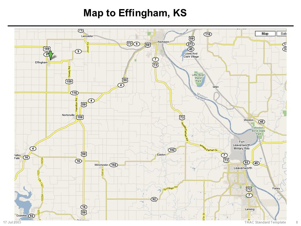 17 Jul 20038 TRAC Standard Template Map to Effingham, KS