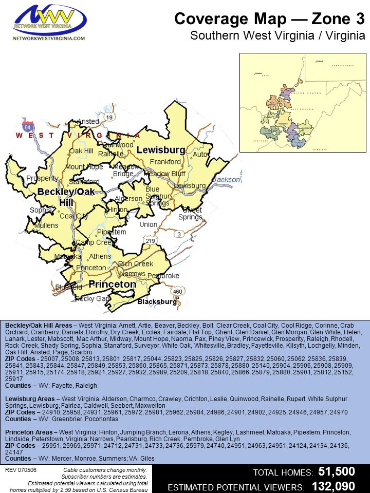 Coverage Map — Zone 3 Southern West Virginia / Virginia Beckley/Oak Hill Areas – West Virginia: Arnett, Artie, Beaver, Beckley, Bolt, Clear Creek, Coa